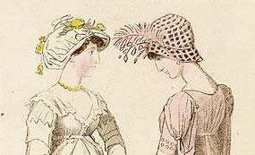 Detail from fashion plate of evening dresses 1801