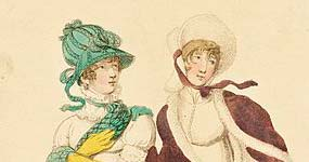 "Detail from fashion plate ""Fashionable Walking Dresses in Dec. 1807."""