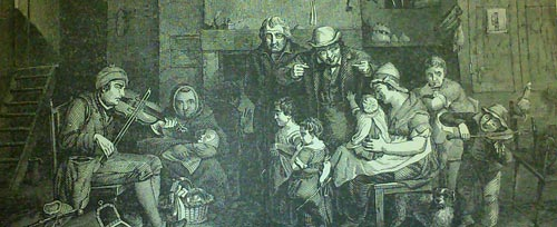 """The Blind Fiddler"" from a painting by Sir D. Wilkie. Illustrated Exhibitor & Magazine of Art 1851"