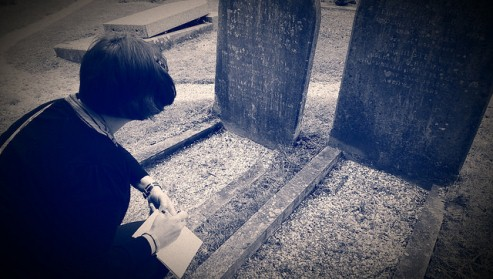 Transcribing headstones at Greensted.