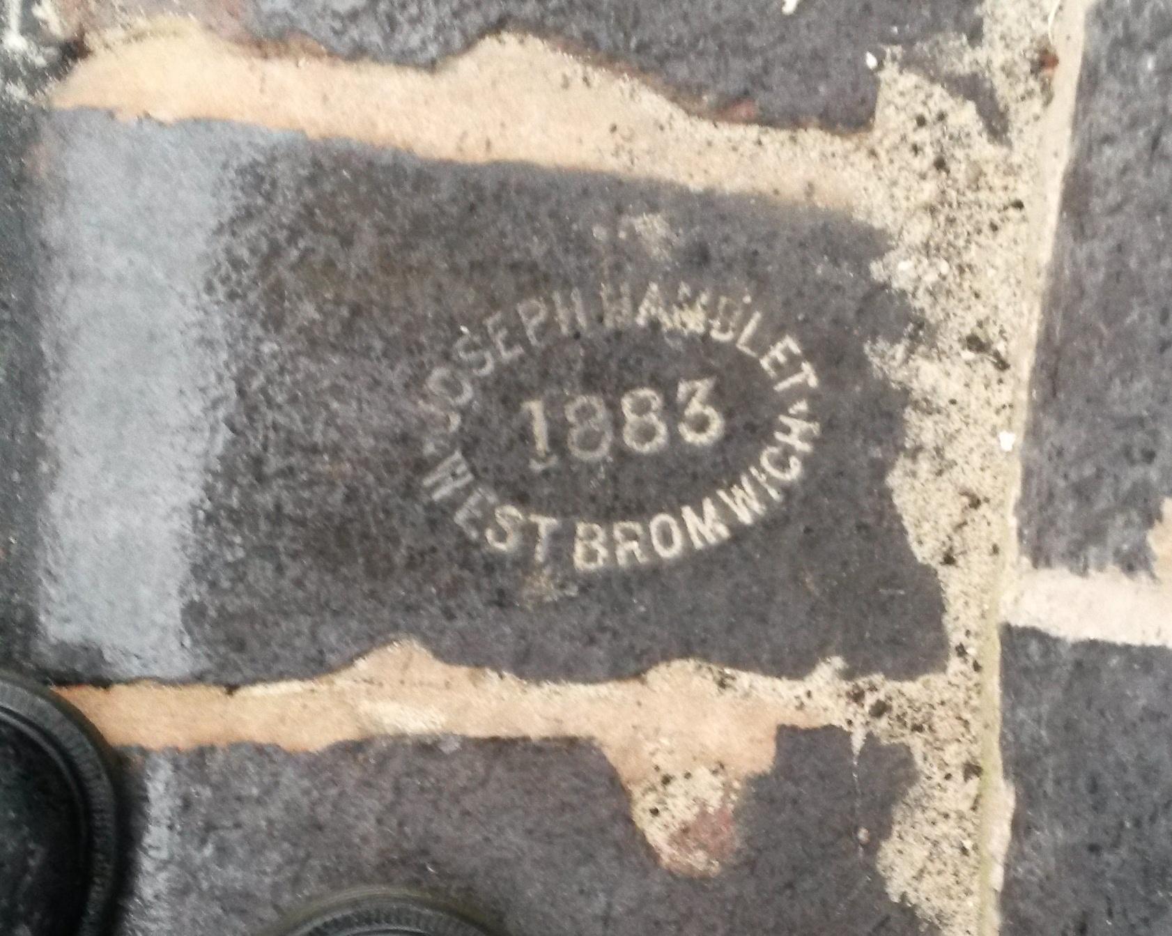 "Close-up of the Hamblet ""blue brick""."