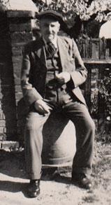 Harry Barrell, on a barrel