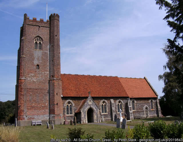 The church at Great Holland, with its large red brick tower.