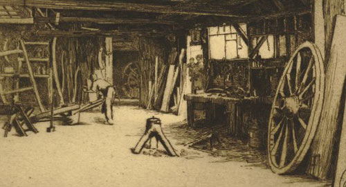 "Detail from ""Wheelwrights Shop"" by Edward Millington Synge, 1913. © Trustees of the British Museum"