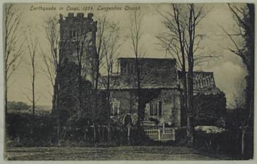 Postcard showing damage to Langenhoe church following the 1884 earthquake.