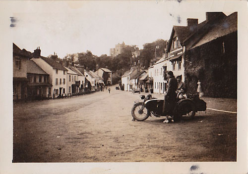 Pam's mother and aunt and unidentified woman at Dunster, Somerset. This view has changed very little in 80 years.