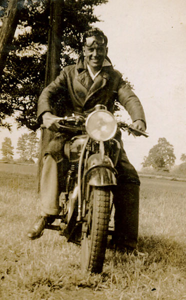 William Strawbridge - Freda's brother and Pam's father - on his bike.