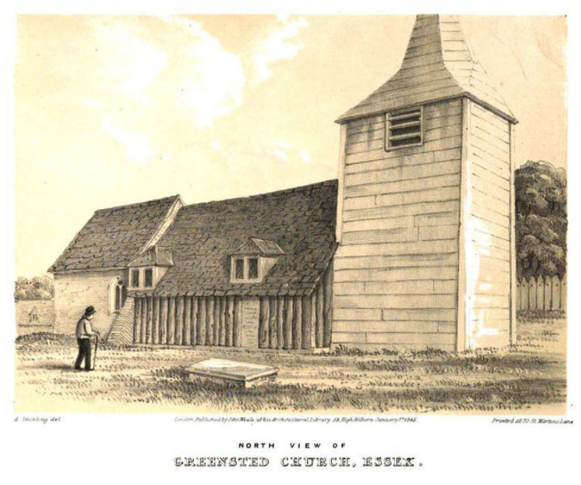 An illustration of Greensted church in Essex