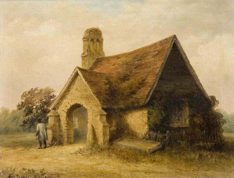 A painting of Frinton's old parish church. It is tiny.